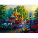 Домик с садом Ткань для вышивки лентами Каролинка