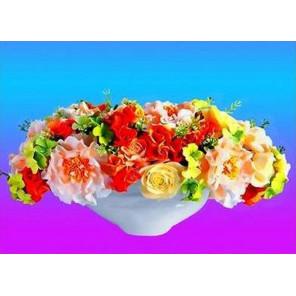 красочные цветы Ткань для вышивки лентами Каролинка