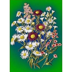 Луговые цветы Ткань для вышивки лентами Каролинка