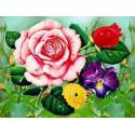 Букет с розой Ткань для вышивки лентами Каролинка