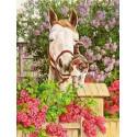 Ласковый конь Ткань для вышивки лентами Каролинка
