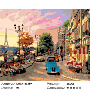 Летний Париж Раскраска по номерам на холсте Живопись по номерам KTMK-89369