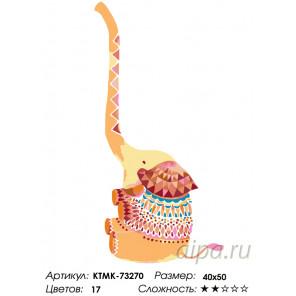 Счастливый слоник Раскраска по номерам на холсте Живопись по номерам KTMK-73270