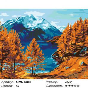 Осень на горном озере Раскраска по номерам на холсте Живопись по номерам KTMK-12589