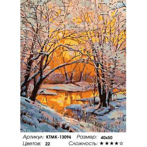 Количество цветов и сложность Закат в зимнем лесу Раскраска по номерам на холсте Живопись по номерам KTMK-13096