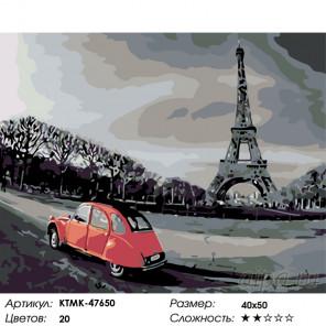 Количество цветов и сложность Прогулка по Парижу Раскраска по номерам на холсте Живопись по номерам KTMK-47650