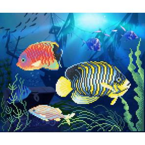 Подводное царство Канва с рисунком для вышивки бисером МП Студия