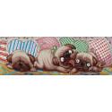 Игровые мопсы Канва с рисунком для вышивки бисером 1218