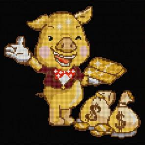Золотая свинка Канва с рисунком для вышивки бисером 1240