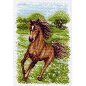 Пейзаж с лошадью Канва с рисунком для вышивки Матренин посад