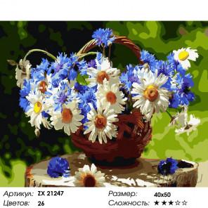 Васильковый день Раскраска картина по номерам на холсте ZX 21247