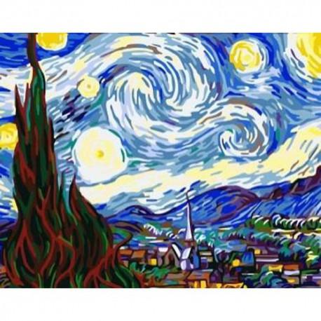 Звездная ночь Ван Гог Раскраска по номерам на холсте Paint ...