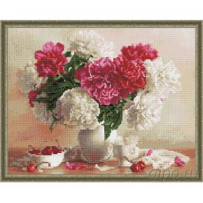 Розово-белые пионы и вишня Алмазная вышивка мозаика на подрамнике EW10210