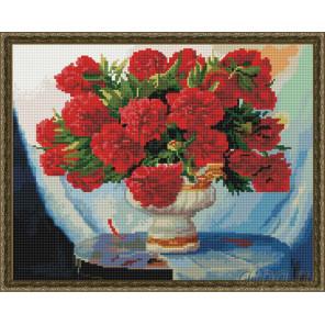 Красные пионы в белой вазе Алмазная вышивка мозаика на подрамнике EW10208