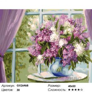 Количество цветов и сложность Красивая сирень Раскраска картина по номерам на холсте GX26468