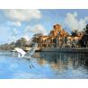 Лебедь у замка Раскраска картина по номерам на холсте GX27495