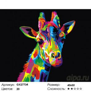 Жираф в цвете радуги Раскраска картина по номерам на холсте GX27734