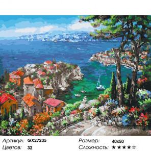 Количество цветов и сложность Городок на лазурном берегу Раскраска картина по номерам на холсте GX27235