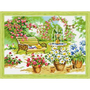 Скамейка в саду Алмазная вышивка мозаика на подрамнике