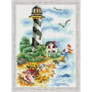 Чайки у маяка Алмазная вышивка мозаика на подрамнике
