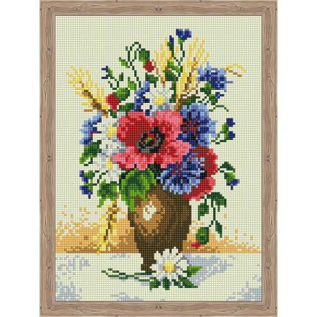 Ромашки, маки, васильки Алмазная вышивка мозаика на подрамнике