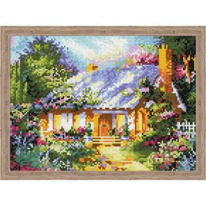 Сказочный дом среди цветов Алмазная вышивка мозаика на подрамнике