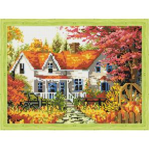 Осенний домик в деревне Алмазная вышивка мозаика на подрамнике