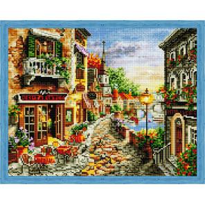 Летнее кафе на набережной Алмазная вышивка мозаика на подрамнике