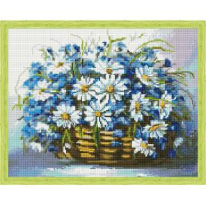 Букет ромашек и васильков в корзинке Алмазная вышивка мозаика на подрамнике