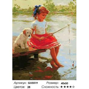 На рыбалке с Дружком Раскраска картина по номерам на холсте GX5519