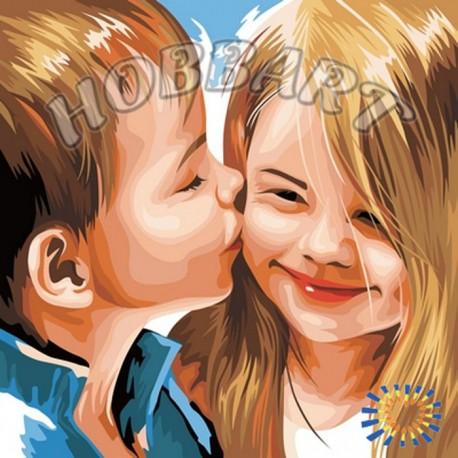 Детский поцелуй Раскраска по номерам акриловыми красками на холсте Hobbart