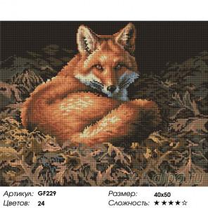 Количество цветов и сложность Лисица Алмазная вышивка мозаика на подрамнике GF229