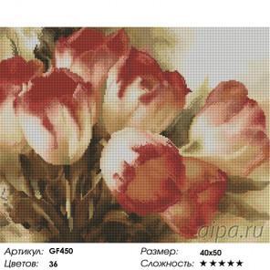 Количество цветов и сложность Милые тюльпаны Алмазная вышивка мозаика на подрамнике GF450