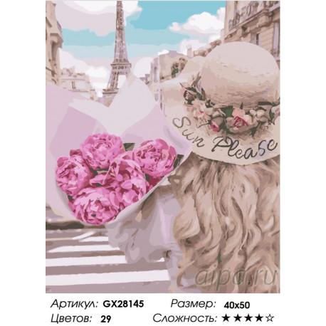 Количество цветов и сложность Утонченность Парижа Раскраска картина по номерам на холсте GX28145