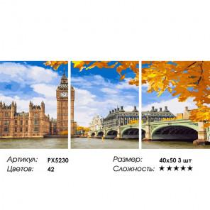 Осень в Лондоне Триптих Раскраска картина по номерам на холсте