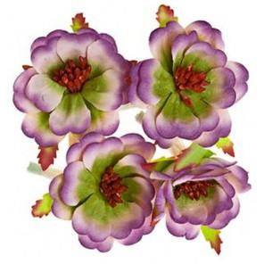Магнолии Сиреневые с зеленым Цветы бумажные для скрапбукинга, кардмейкинга Scrapberry's