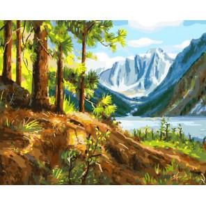 Горы и сосны Раскраска картина по номерам на холсте GX23473