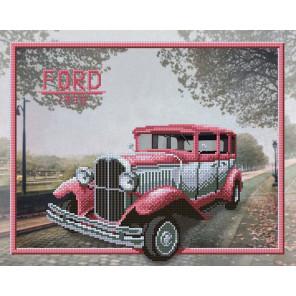 В рамке Розовый форд Канва с рисунком для вышивки бисером МП Студия Г-158