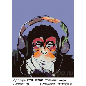 Количество цветов и сложность Музыкальная обезьяна Раскраска по номерам на холсте Живопись по номерам KTMK-172703