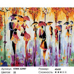 Количество цветов и сложность Пары под дождем Раскраска по номерам на холсте Живопись по номерам KTMK-62987