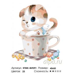 Количество цветов и сложность Котенок в чашке Раскраска картина по номерам на холсте KTMK-469291