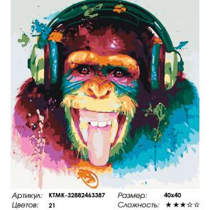 Количество цветов и сложность Шимпанзе-меломан Раскраска картина по номерам на холсте KTMK-32882463387