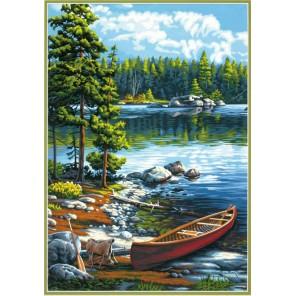 Каное около озера Раскраска картина по номерам Dimensions