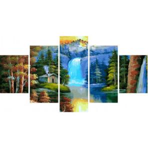 Прекрасный водопад Модульная картина по номерам на холсте с подрамником WX1079