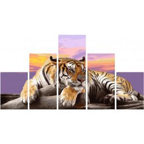 Тигр на закате Модульная картина по номерам на холсте с подрамником WX1044