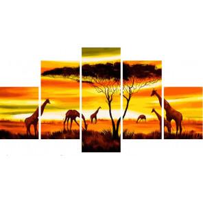 Закат в Африке Модульная картина по номерам на холсте с подрамником WX1046