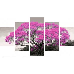 Розовое цветение Модульная картина по номерам на холсте с подрамником WX1053