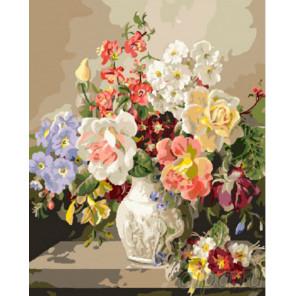 Примулы и розы Раскраска картина по номерам на холсте
