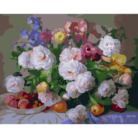 Пионы и фрукты Раскраска картина по номерам на холсте