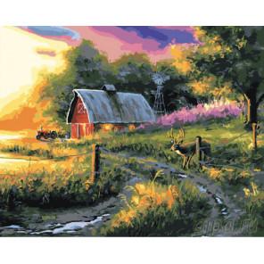 Дом в закате Раскраска картина по номерам на холсте